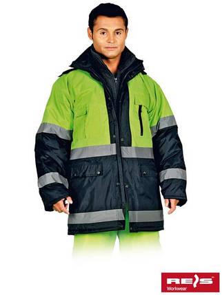 Куртка зимова з світловідбиваючими смужками BLUE-YELLOW GY, фото 2