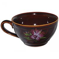 Чашка чайная коричн. деколь 380 мл (в упаковке 6 штук)