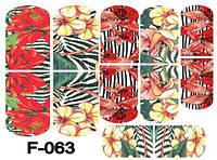 Слайдер дизайн (водная наклейка) для ногтей F-063
