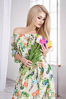 Платье женское шифоновое в пол с цветами P1742