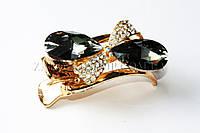 Боковой краб для волос, материал: пластик,  металлическая пряжка камнями чешское стекло, длина: 9 см, 1 штука