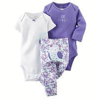 Комплект Боди с коротким рукавом,боди с длинным рукавом и штанишки 13-18 мес. 86 см для девочки Carter's
