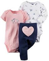 Комплект Боди с коротким рукавом,боди с длинным рукавом и штанишки 19-24 мес. 92 см для девочки Carter's