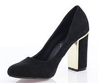 Удобные и модные женские туфли замша черного цвета
