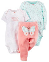 Комплект Боди с коротким рукавом,боди с длинным рукавом и штанишки 4-6 мес. 68 см для девочки Carter's