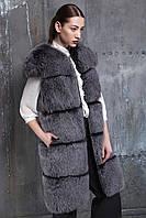 Шикарное меховое пальто, пошитое из финского песца, окрашенного в стильный цвет «Серебрянный Бриз»