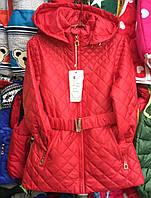 Детская куртка ветровка на девочку оптом 140-164 с поясом красная