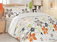 Комплект постельного белья 160х220 ALTINBASAK Ebru, с оранжевыми цветами.