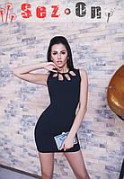 Платье женское с открытой спиной Лепестки - Черный
