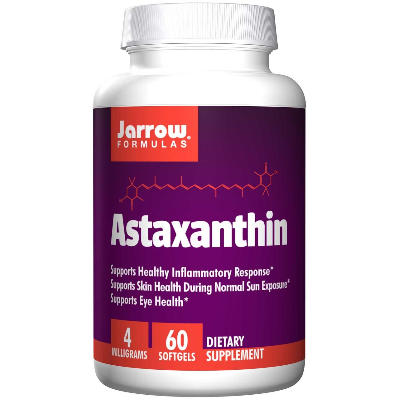 Астаксантин, Jarrow Formulas, 4 мг, 60 капсул. Сделано в США.