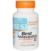 Астаксантин (Best Astaxanthin), Doctor's Best, 12 мг, 60 таблеток. Сделано в США.