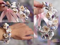"""""""Весенний день"""" браслет/веточка с цветами из полимерной глины, фото 1"""