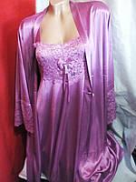 Женский атласный комплект халат и ночная рубашка