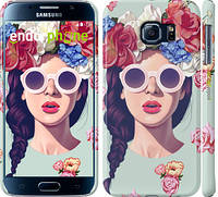 "Чехол на Samsung Galaxy S6 G920 Девушка с цветами ""2812c-80"""