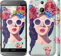 """Чехол на HTC One M8 Девушка с цветами """"2812c-30"""""""