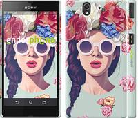 """Чехол на Sony Xperia Z C6602 Девушка с цветами """"2812c-40"""""""