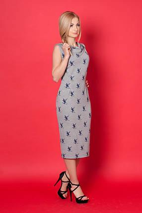 Стильное трикотажное платье с модным принтом., фото 2