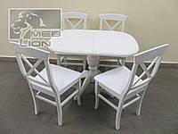 Обеденная группа Стол + 4 стула, цвет белый, ваниль