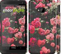 """Чехол на HTC One M7 Куст с розами """"2729c-36"""""""