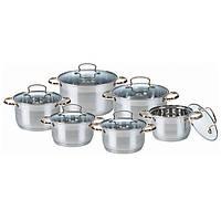 Набор кухонной посуды из нержавеющей стали 12 предметов (6 кастрюль) Maestro MR-3516-12