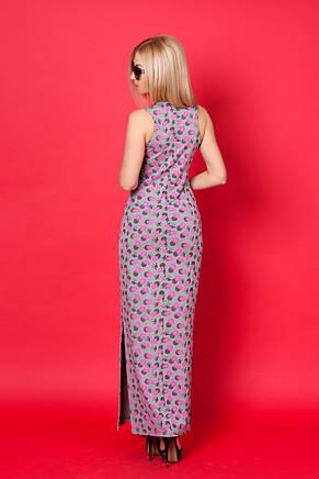 Модное трикотажное платье прямого силуэта с боковыми разрезами., фото 3