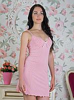 Розовая ночная сорочка с сердечками на тонких брительках