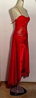 Платье женское летнее банкетное шелковое со шлейфом красное яркое модное стильное