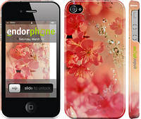"Чехол на iPhone 4s Розовые цветы ""2461c-12"""