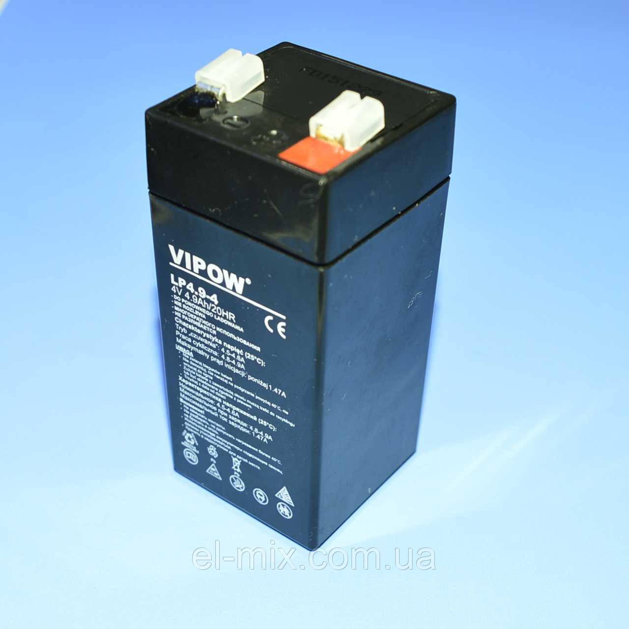 Аккумулятор гелевый Vipow  4V  4.9Ah  BAT0271  , фото 1