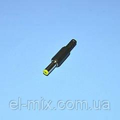 Штекер питания DC, 5.5*2.1мм L-14мм, желтый, корпус пластик 1-0159-1