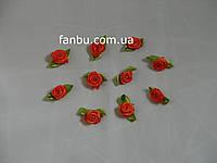 Маленькая тканевая розочка оранжевая 1.3см*2см(1 упаковка 10розочек)