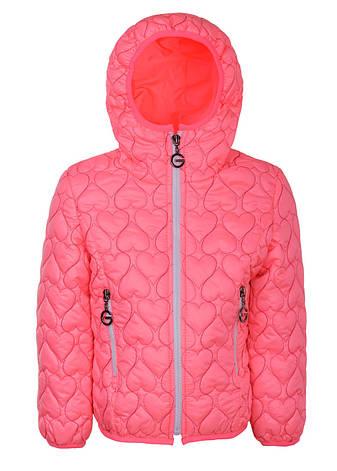 """Красивая, оригинальная и стильная стеганая куртка для девочки """"Сердца"""" (Корал)., фото 2"""