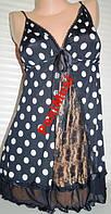 Женская ночнушка, пеньюар,черная в горошек с кружевом Польша