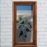 Виниловая матовая пленка на окно Три птицы, самоклеящаяся наклейка на стекло зеркало матирующая под пескоструй