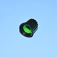 Ручка для потенциометра AG-9 под звездочку d6мм черно-зеленая  Omter