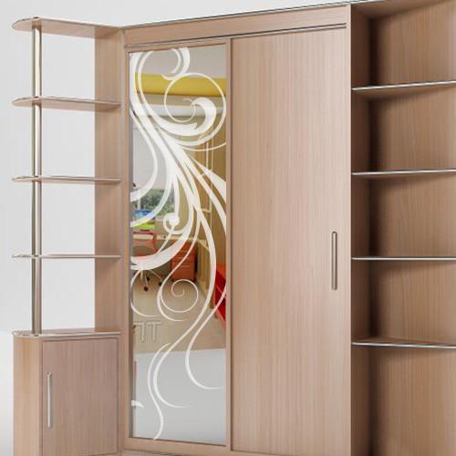 Пленка на зеркало шкафа купе Завиток 0010, матовая виниловая наклейка оракал на стекло, зеркало, окно растения