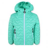 """Красивая, оригинальная и стильная стеганая куртка для девочки """"Сердца"""", нежно бирюзовая ."""