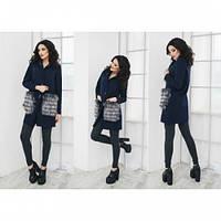 Пальто женское кашемировое Карман меховой темно синее ,магазин пальто