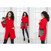 Пальто женское кашемировое Карман меховой красное,магазин пальто