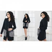 Пальто женское кашемировое Карман меховой черное,магазин пальто