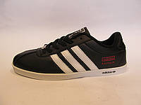 Кроссовки мужские Adidas Gazelle кожаные, черные  (адидас газели)р.46