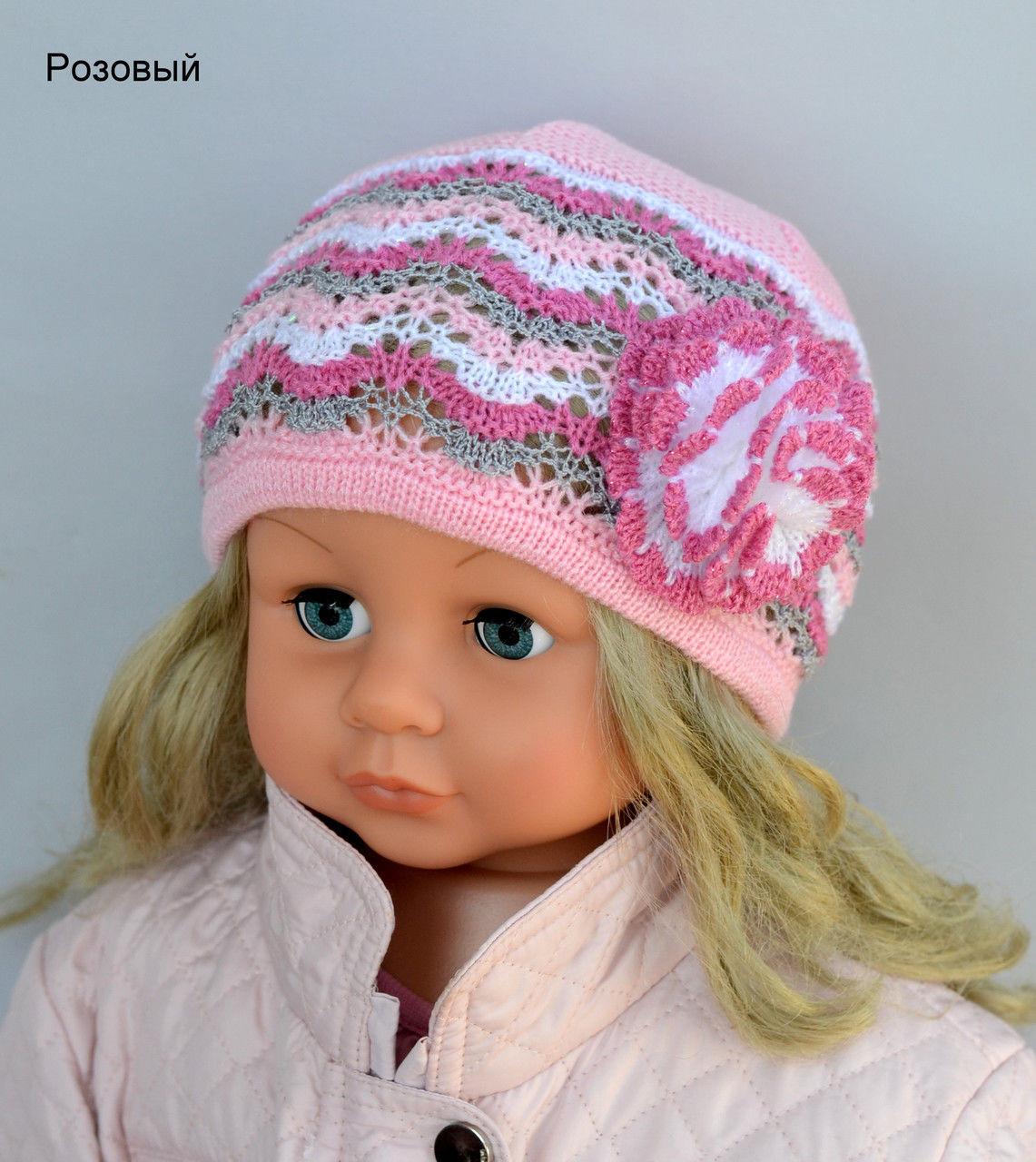 Ажурная шапка на девочку с цветком
