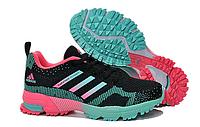 Кроссовки женские Adidas Marathon 10 черные с бирюзой