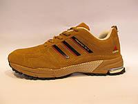Кроссовки мужские Adidas Marathon Flyknit замшевые, желтые (адидас маратон флайнит)р.41