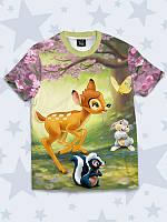 """Детская футболка с 3D рисунком/принтом """"Бэмби герои"""" из легкой дышащей ткани на лето для маленьких модников."""