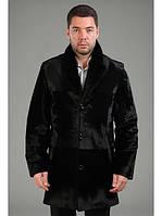Пиджак из мутона с воротником из норки и кожаными вставками 80 см