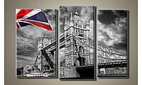 "Модульная картина на холсте ""Тауэрский мост с флагом"""