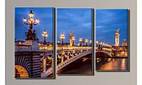 """Модульная картина на холсте """"Вечерний мост Александра III"""""""