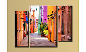 """Модульная картина на холсте """"Разноцветный переулок"""""""