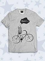 Футболка Кот на велосипеде с прикольным рисунком.